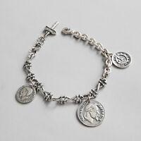 New Retro Womens Genuine s925 Sterling Silver Vintage Napoleon Coins Bracelet
