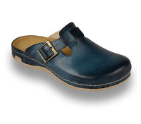 LEON 707 Mens Leather Slip On Mules Clogs Sandals Slippers Shoes, Blue, New UK