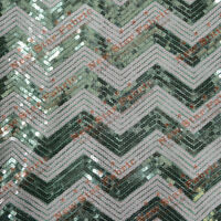 "Chevron Zigzag Sequin Fabric 55"" Width By The Yard  Aqua / White"