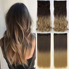 Clip In Hair Extensions Real Cheap Price 3/4 Full Head Ombre Hair UK Stock Brown