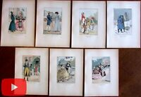 Male Fashion Illustration 1898 nice lot x 7 hand color prints Couboin men women