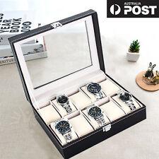 Leather Watch Jewelry Display Storage Holder Case 10 Grids Box Organizer Gift AU