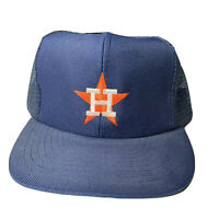 Vintage 80s Houston Astros Mesh Trucker Hat Snapback Cap Navy Blue Orange Annco