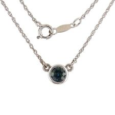 Sapphire Solitaire Pendant Necklace in 14k White Gold 18