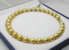 """HUGE 18""""10-11mm Natural south sea genuine gold pearl necklace round AAA"""