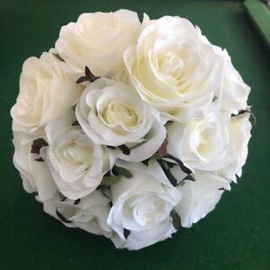 Silk Cream White Rose Posy Wedding Flower Roses Premade Bouquet Flowers
