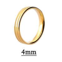 Hallmarked 9ct Yellow Gold Diamond Cut Patterned Wedding Ring Flat Profile