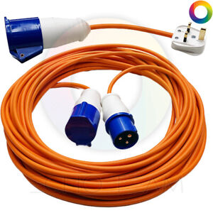 TOP QUALITY 25m Caravan Extension Lead Electric Hook Up Cable Adaptor Orange