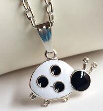 "Silver Ladybug Necklace Black White Enamel Plated Insect Beetle Bug 20"" USSeller"