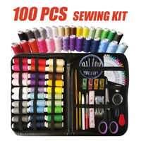 100PCS  Sewing Kit Thread Roll Scissor Tape Pin Thimble Hand Sewing Needle Set