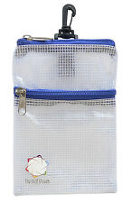 The Golf Pouch, BLUE Trim, Clear See-through Accessory Storage Tote.