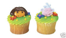 12 DORA THE EXPLORER & BOOTS Cup Cake Rings Topper Party Goody Bag Favor Supply