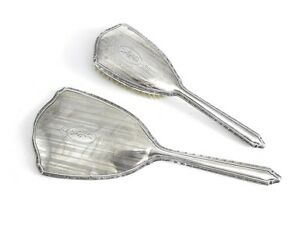 2pc Webster Company Sterling Silver Vanity Hair Brush and Mirror, Hand Chased