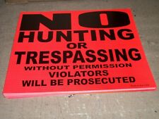 """100 Pack - 8"""" x 7"""" No Hunting or Trespassing Signs ORANGE Durable MADE IN USA"""