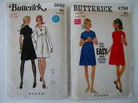 Lot of 2 VTG Butterick Mod Style Dress Patterns  Size 14/Bust 36