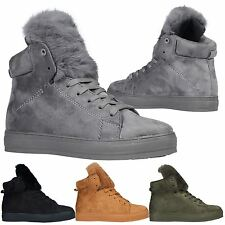 Cassia Womens Faux Fur Detail High Top Trainers Lace Up Flats Ladies Ankle Boots