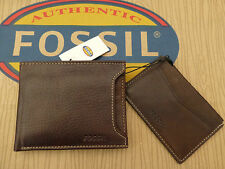 FOSSIL Card Holder & Bifold Wallet LINCOLN Brown Leather 2in1 Wallets Gift Tin