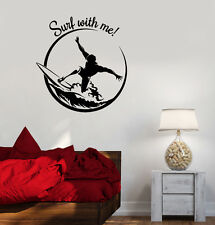 Vinyl Decal Surf Surfing Quote Extreme Sport Teen Room Wall Stickers (ig3482)