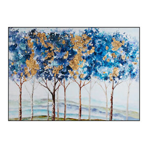 """HH143 100% Hand-painted oil painting on canvas Blue Forest Unframed 24""""x36"""""""