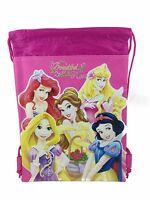Disney Princesses Drawstring String Backpack Sling Tote Bag - Hot Pink