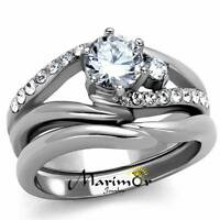 Stainless Steel 1.19 Ct Round Cut Cubic Zircona Wedding Ring Set Women's Sz 5-10