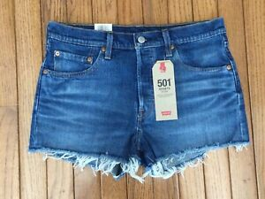 New Levis 501 Women's Mid-Rise Stretch Shorts Button Fly Sz 28