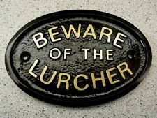 BEWARE OF THE LURCHER - HOUSE DOOR PLAQUE DOG SIGN COLLAR