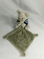 Gray Teddy Bear Lovey Security Blue/White Sweater Made in France Knotted Corners