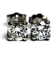 EGL GIA certified 14k white gold 1.07ct SI2 D round diamond earrings 1.4g estate