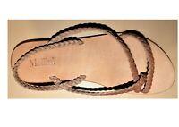 "Mollini ""Tia"" Tan Braided Leather Flat Sandal Au Size 5 Eu 36 New in Box"