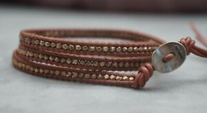 NEW Chan Luu RoseGold Nugget 3 Wrap Taupe Leather Bracelet