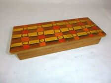 Vtg Mid Century Enamel on Copper Decorated Wood Box Orange Geometric 10x4