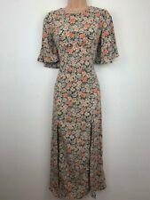 Floral Midi Dress Size 12 Short Sleeve In Vogue Paris BNWT