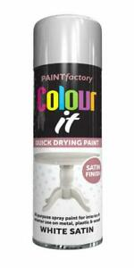 2x All Purpose Spray Paint White Satin Finish 250ml Wood Metal Fast Drying Paint