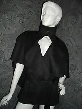 NEW + TAGS JOHN LEWIS * MAX STUDIO * BLACK WOOL CAPE JACKET BELT SZ M/L RRP £299