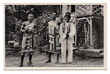 SURINAME, VILLAGE LEADER & 2 MEN AT EVANGELIST'S HOUSE, REAL PHOTO PC c 1910-20