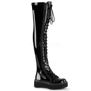 Demonia EMILY-375 Women's Black Patent Platform Stretch Thigh-High Lace-Up Boots