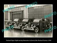OLD POSTCARD SIZE PHOTO OF PACKARD SUPER EIGHT LIMOUSINES PACKARD FACTORY 1940