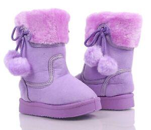 Purple Color Side Zipper Pompom Baby Toddler Kids Girls Faux Fur Booties NO BOX