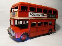 TINPLATE RETRO RED DOUBLE DECKER LONDON BUS SHABBY CHIC VINTAGE BUS MODEL LARGE