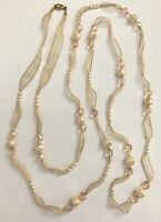 """Vtg Long Ribbon Strand Faux Pearl & Faceted AB Beads Cream Color Necklace 59"""""""