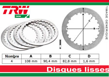 Pack 4 Disques Lisses d'Embrayage HONDA CB 125 T T2 TWIN CBR 125 R RW CG