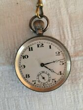 Watch with Chain, Tested & Working 1928, Antique 925 Solid Silver Swiss Pocket