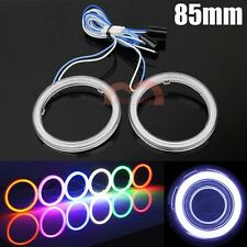 1 Pair White 85mm COB LED Angel Eyes Car Headlight Halo Ring Lights with Cover