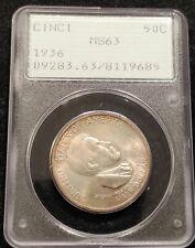 1936 PCGS MS63 Cincinnati S. Foster Commemorative Half Dollar Toned OGH Rattler