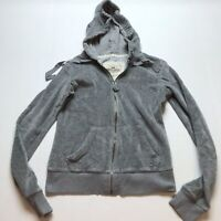 Hollister Gray Velour Full Zip Hoodie Jacket Size Small A18