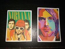 LOT OF 2 Kurt Cobain Nirvana 90's Grunge Music Skateboard Laptop Decal Stickers