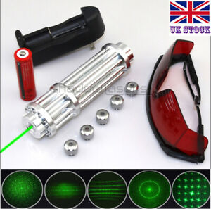 SGX3-C 1MW 532nm Green Laser Pointer Lazer Pen&Battery&Charger&Goggles&5 Caps UK