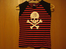 Lucky 13, Small, Red and Navy Pullover Sleeveless, Stripes &  Skull,  LOOK