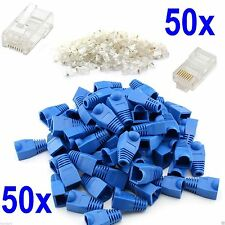 50x RJ45 Ethernet Network LAN Cat6 7 Cable End Crimp Connectors And Cover Boots